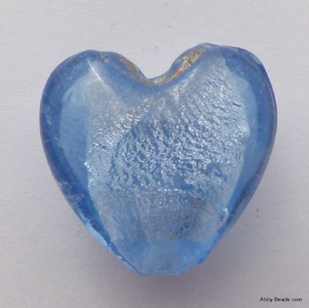 Blue lamp work silver foil heart bead 20mm.